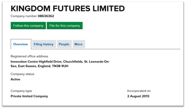 KingDom Futures реестр британских компаний